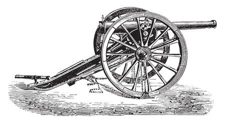artillery: 90mm field gun, 1877 model, vintage engraved illustration. Industrial encyclopedia E.-O. Lami - 1875.