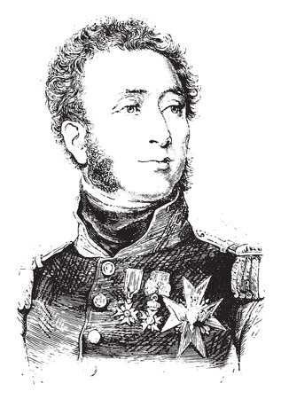 representations: Duke of Angouleme, vintage engraved illustration. History of France – 1885. Illustration