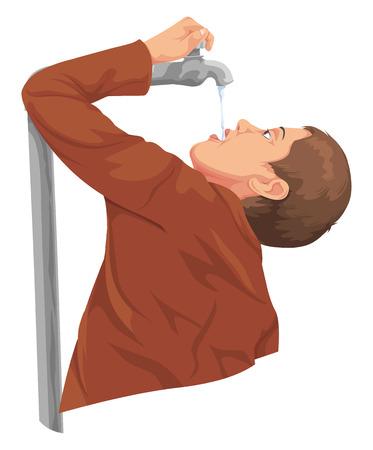 水道の蛇口から水を飲む男のベクター イラストです。
