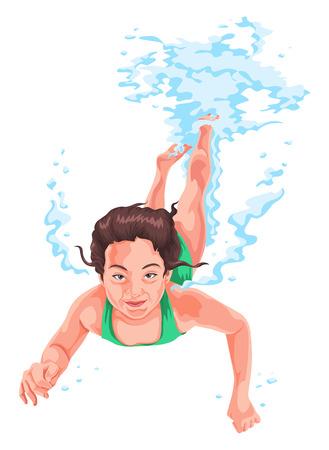 Vector illustratie van de vrouw het beoefenen van onderwater zwemmen.