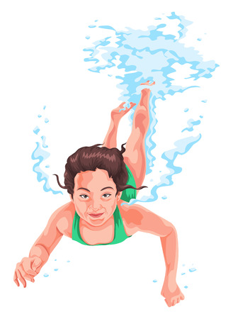 woman underwater: Vector illustration of woman practicing underwater swimming.