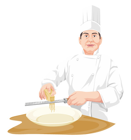 grating: Vector illustration of chef grating cheese.