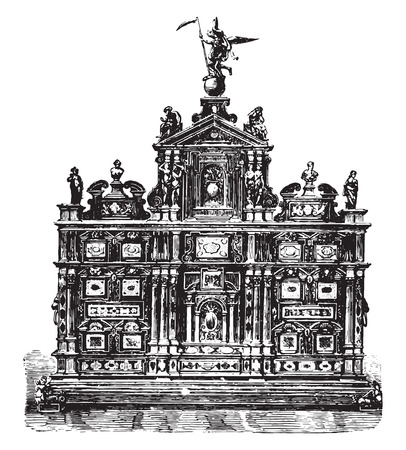 ebony: Italian cabinet furniture, ebony, inlaid mosaic Florence (sixteenth century), vintage engraved illustration. Industrial encyclopedia E.-O. Lami - 1875.