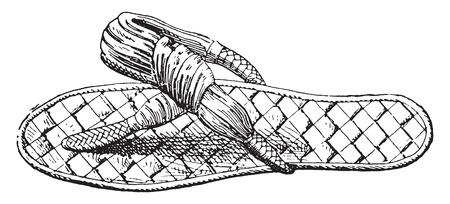 sandals: Egyptian sandals, vintage engraved illustration.