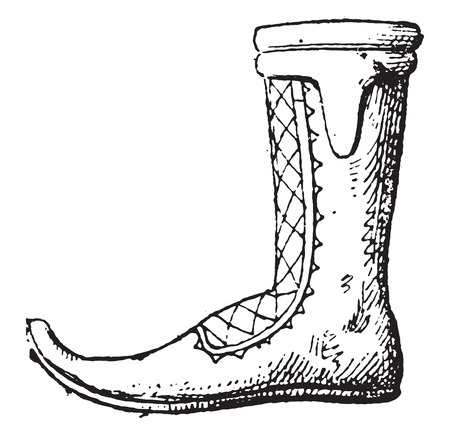 welly: Boot, vintage engraved illustration.