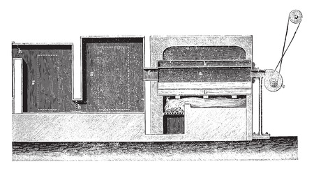 battu: Feu de camp, illustration vintage grav�. E.-O. encyclop�die industrielle Lami - 1875.