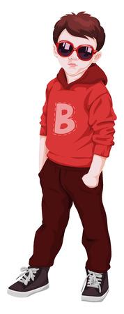 funky: Vector illustration of boy wearing sunglasses.