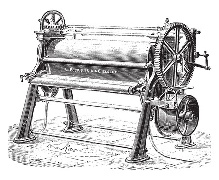industrial machine: Machine cylinder and polishing sheets, vintage engraved illustration. Industrial encyclopedia E.-O. Lami - 1875.