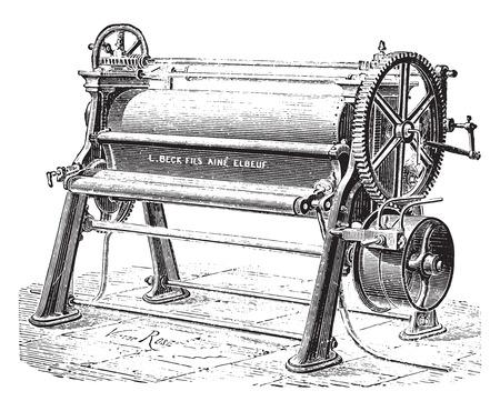 Machine cylinder and polishing sheets, vintage engraved illustration. Industrial encyclopedia E.-O. Lami - 1875.
