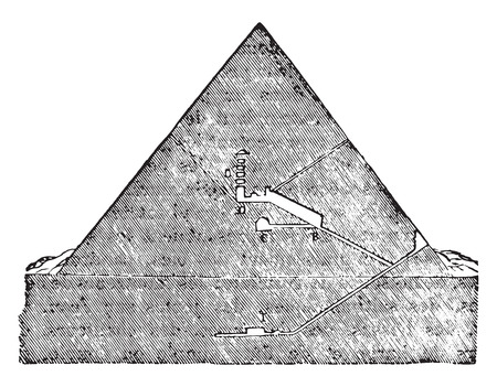 Cutting the Great Pyramid of Memphis, vintage engraved illustration. Industrial encyclopedia E.-O. Lami - 1875. Illustration