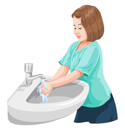 Vector illustration of girl washing hands in wash basin.