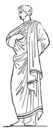 archaeological: Prenda exterior, ilustraci�n de la vendimia grabado.