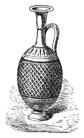 earthenware: Vase perfumes, vintage engraved illustration. Private life of Ancient-Antique family-1881.