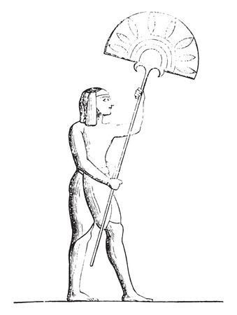 representations: Egyptian Fan, vintage engraved illustration. Industrial encyclopedia E.-O. Lami - 1875. Illustration
