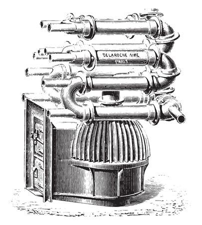 furnace: Furnace with bell fins, vintage engraved illustration. Industrial encyclopedia E.-O. Lami - 1875.