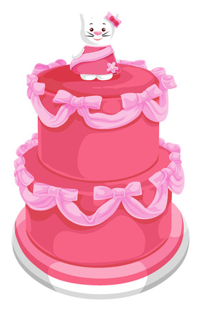 Vector illustration of tiered cake with cat on top.