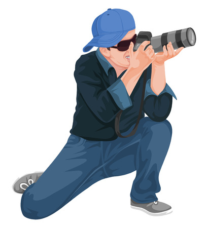 Vector illustration of man photographing with slr camera. Vectores