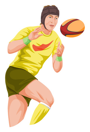football player: Vector illustration of player catching football.