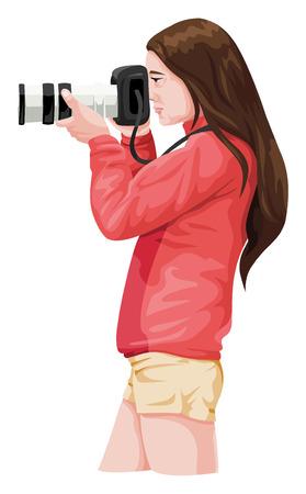 一眼レフ カメラを持つ女性カメラマンのベクター イラストです。