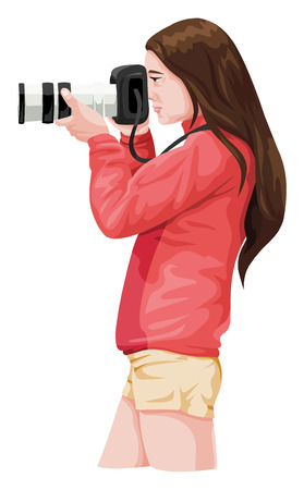 Vector illustration of woman photographer with slr camera.