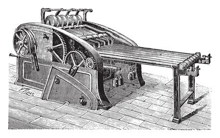 textiles: Spreader linen, vintage engraved illustration. Industrial encyclopedia E.-O. Lami - 1875.