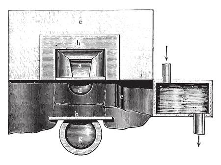 Oven handle (plan), vintage engraved illustration. Industrial encyclopedia E.-O. Lami - 1875.