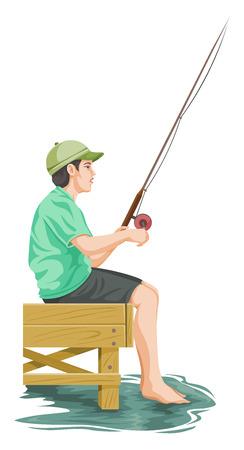 Vector illustration of teenage boy fishing.