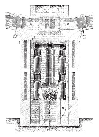 furnace: Cross section of a horizontal circulation of smoke in furnace, vintage engraved illustration. Industrial encyclopedia E.-O. Lami - 1875. Illustration
