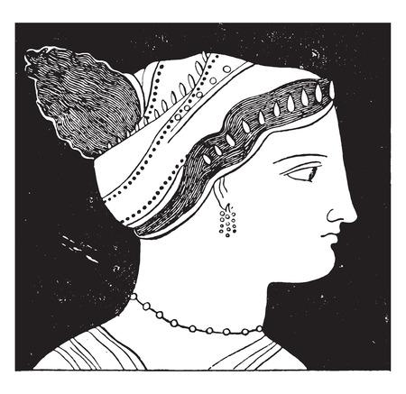 Female figure, vintage engraved illustration. Vettoriali