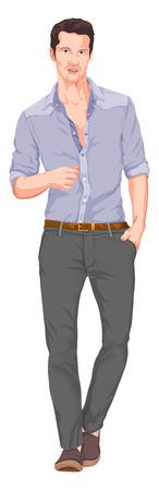 hombre guapo: Ilustraci�n vectorial de un hombre guapo con la mano en el bolsillo Vectores