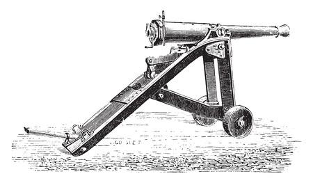 lookout: Canon 7 on lookout for bunker, vintage engraved illustration. Industrial encyclopedia E.-O. Lami - 1875. Illustration