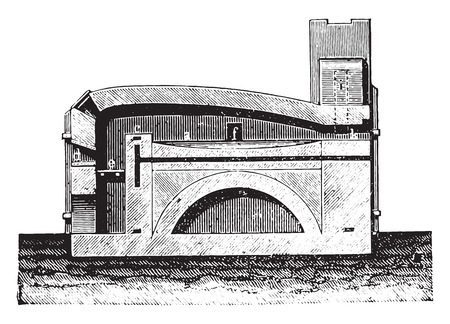 firebox: Reverberatory furnace vertical section, vintage engraved illustration. Industrial encyclopedia E.-O. Lami - 1875.