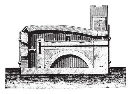 Reverberatory furnace vertical section, vintage engraved illustration. Industrial encyclopedia E.-O. Lami - 1875.
