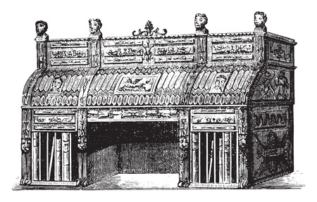 Rolltop desk or Empire style of after Percier and Fontaine, vintage engraved illustration. Industrial encyclopedia E.-O. Lami - 1875.