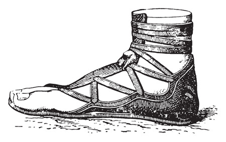 Greek shoe, vintage engraved illustration.