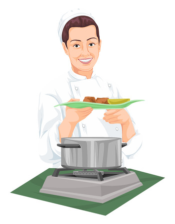 female chef: Vector illustration of chef holding plate of prepared food.