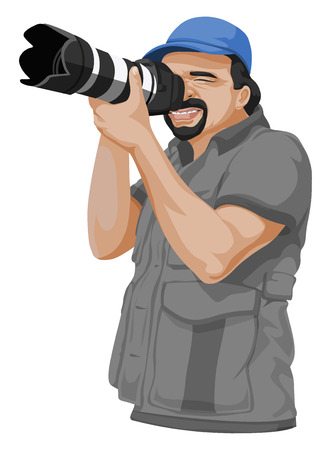 taking picture: Vector illustration of photographer taking picture with slr camera.