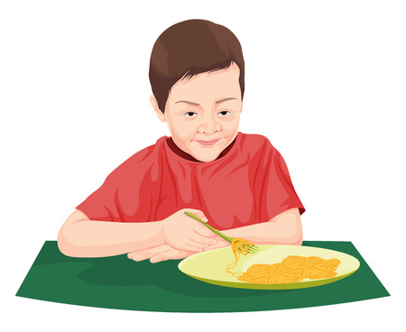 drawing table: Vector illustration of boy eating noodles.