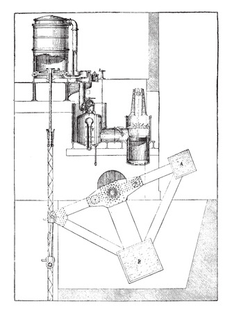 Exhaustion machine has a single-acting direct tension and regenerator, vintage engraved illustration. Industrial encyclopedia E.-O. Lami - 1875.
