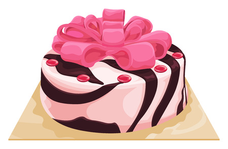 indulgence: Vector illustration of chocolate vanilla cake.