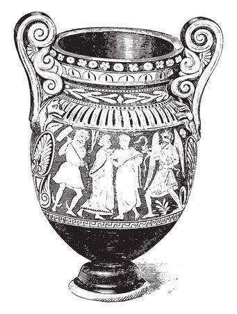 etruscan: Etruscan vase, vintage engraved illustration. Industrial encyclopedia E.-O. Lami - 1875. Illustration