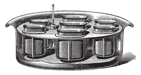 dyeing: Boiler for dyeing tests, vintage engraved illustration. Industrial encyclopedia E.-O. Lami - 1875.