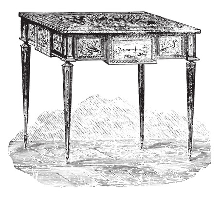 vintage furniture: Work table, Louis XVI style (Louvre), vintage engraved illustration. Industrial encyclopedia E.-O. Lami - 1875.