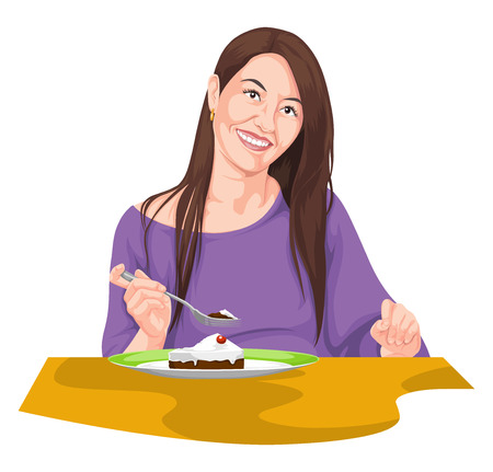 Vector illustration of woman eating using fork.