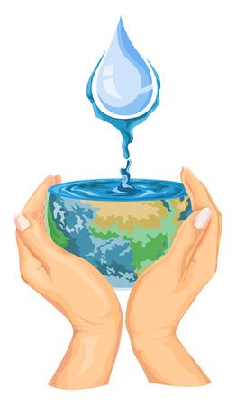 Vector illustration of water drops falling on earth in hands. Ilustração