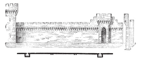 ramparts: Plan and section of the ramparts of Avignon, vintage engraved illustration. Industrial encyclopedia E.-O. Lami - 1875. Illustration
