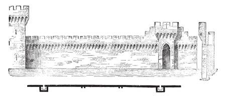 Planta y sección de las murallas de Aviñón, ilustración de la vendimia grabado. E.-O. enciclopedia Industrial Lami - 1875. Foto de archivo - 42027991