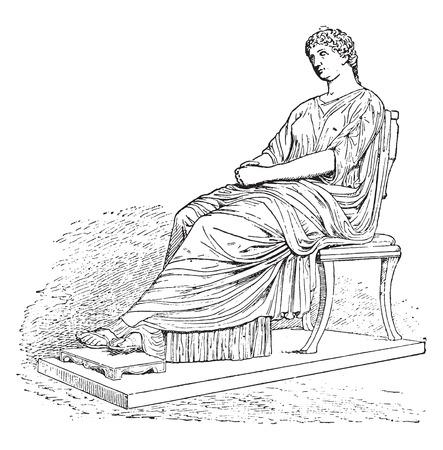 Statue of Agrippina, vintage engraved illustration.