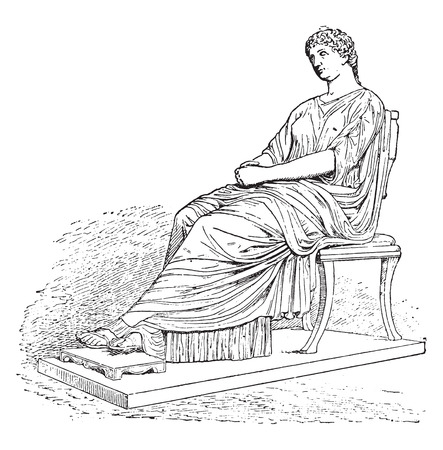 archaeological: Statue of Agrippina, vintage engraved illustration.