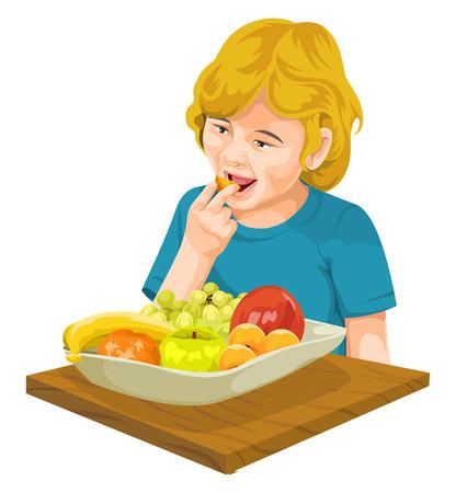 habitos saludables: Ilustración vectorial de niña comiendo fruta fresca.